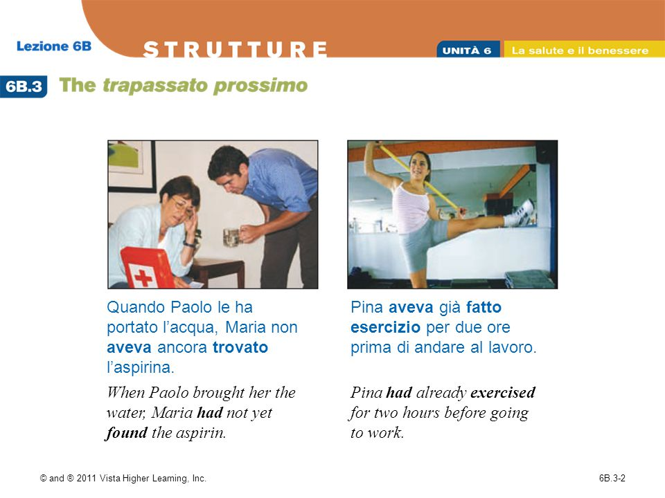 © and ® 2011 Vista Higher Learning, Inc.6B.3-3 In the trapassato prossimo, like in the passato prossimo, the past participle of verbs formed with essere must agree in gender and number with the subject.
