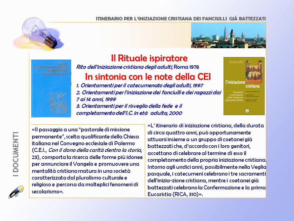 In sintonia con le note della CEI Rito dell'iniziazione cristiana degli adulti, Roma 1978 ITINERARIO PER L'INIZIAZIONE CRISTIANA DEI FANCIULLI GIÀ BAT