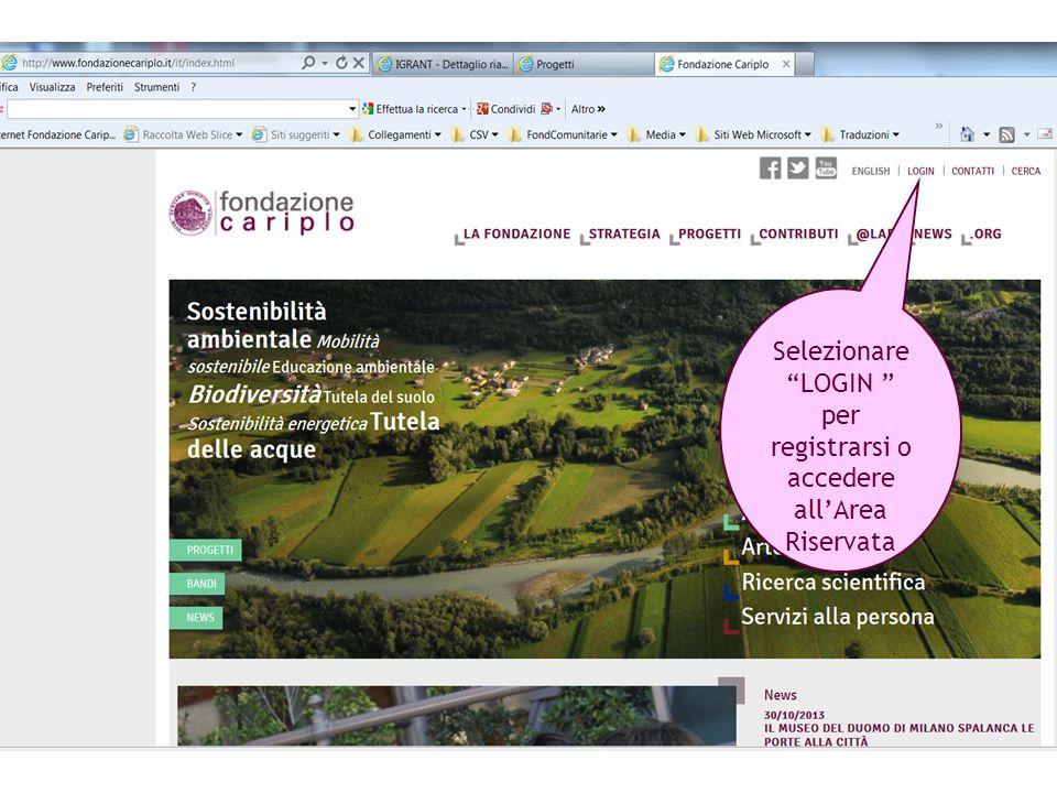 Selezionare LOGIN per registrarsi o accedere all'Area Riservata