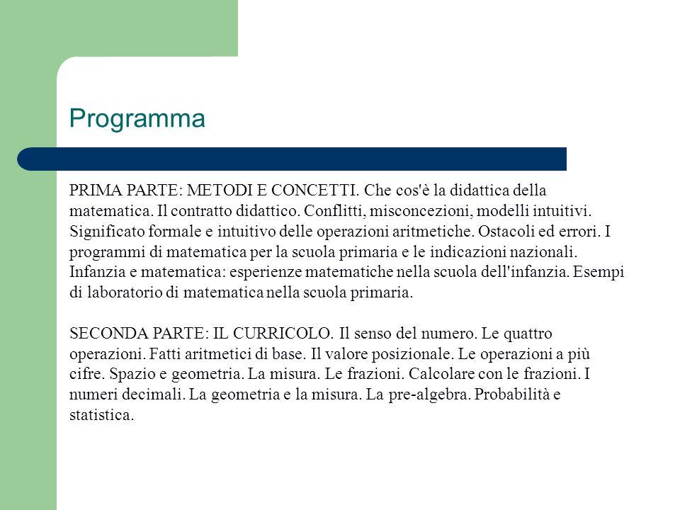 Programma PRIMA PARTE: METODI E CONCETTI. Che cos'è la didattica della matematica. Il contratto didattico. Conflitti, misconcezioni, modelli intuitivi