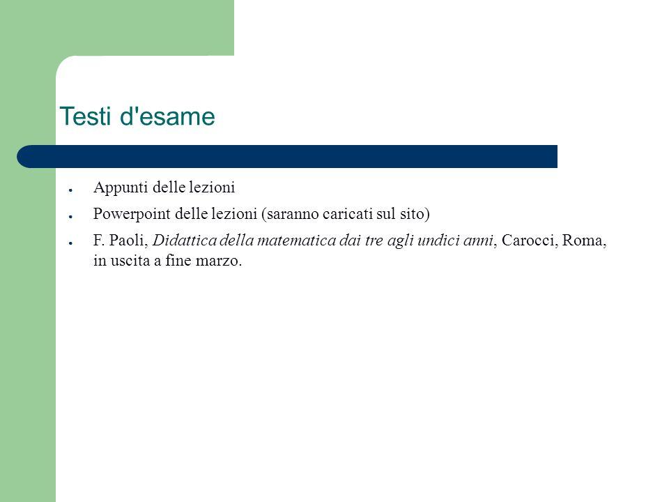 Testi d'esame ● Appunti delle lezioni ● Powerpoint delle lezioni (saranno caricati sul sito) ● F. Paoli, Didattica della matematica dai tre agli undic