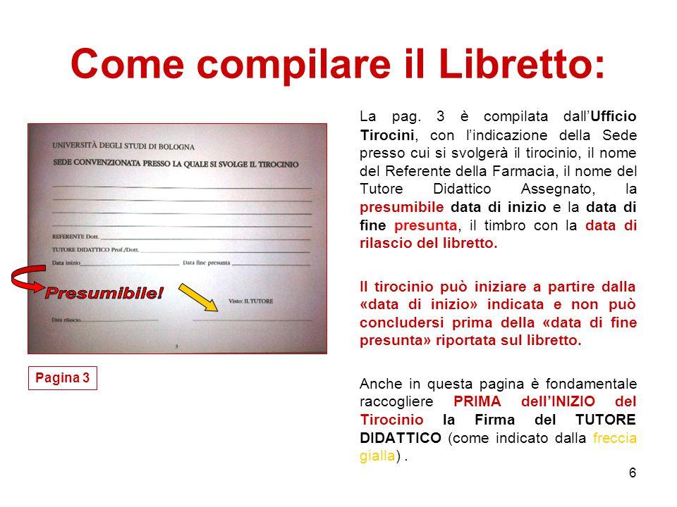 6 Come compilare il Libretto: La pag.