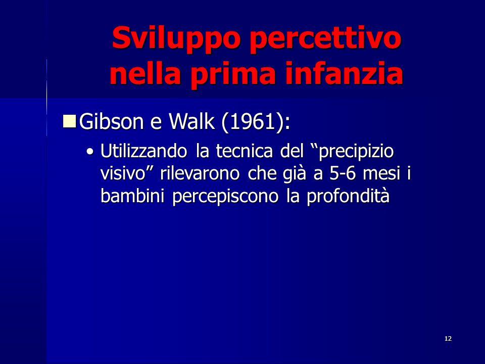 """12 Gibson e Walk (1961): Gibson e Walk (1961): Utilizzando la tecnica del """"precipizio visivo"""" rilevarono che già a 5-6 mesi i bambini percepiscono la"""