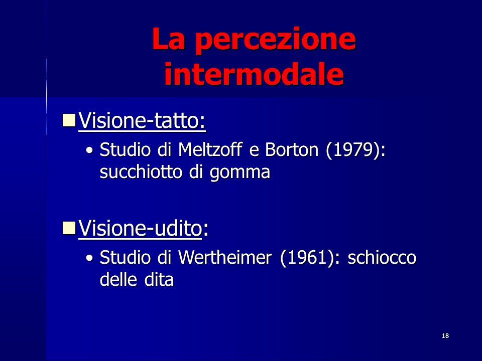 18 Visione-tatto: Visione-tatto: Studio di Meltzoff e Borton (1979): succhiotto di gommaStudio di Meltzoff e Borton (1979): succhiotto di gomma Vision
