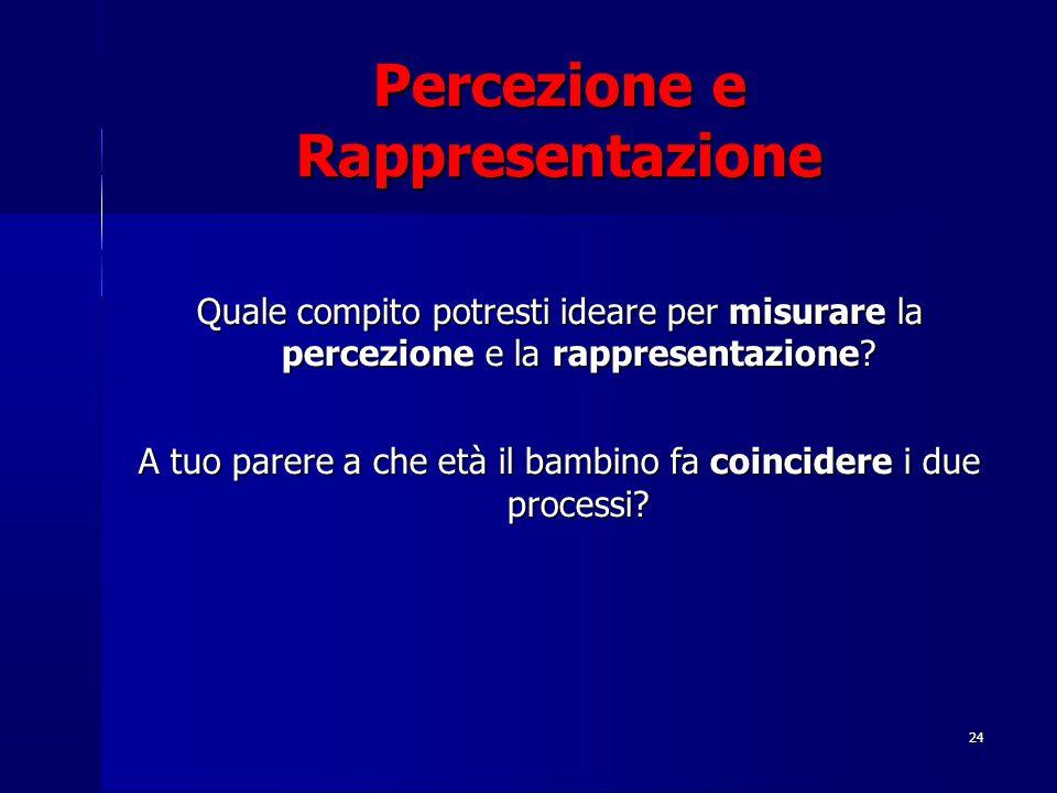 24 Percezione e Rappresentazione Quale compito potresti ideare per misurare la percezione e la rappresentazione? A tuo parere a che età il bambino fa