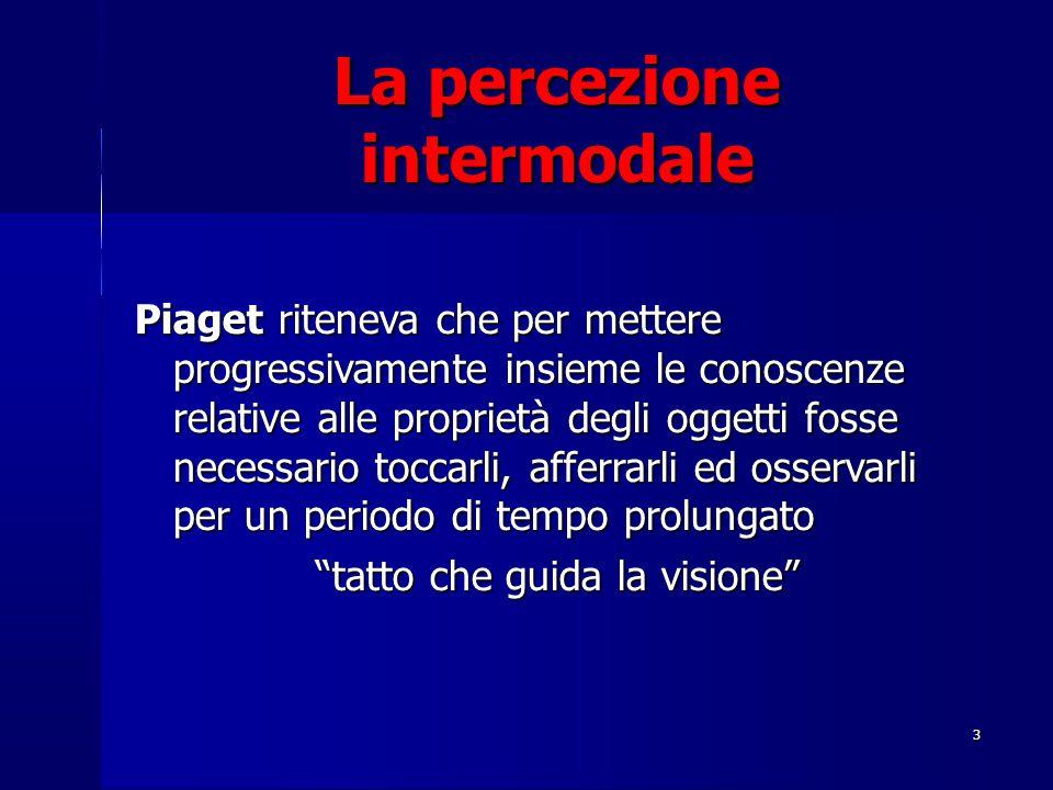 3 La percezione intermodale Piaget riteneva che per mettere progressivamente insieme le conoscenze relative alle proprietà degli oggetti fosse necessa