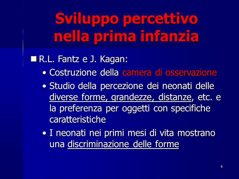 6 Sviluppo percettivo nella prima infanzia R.L. Fantz e J. Kagan: R.L. Fantz e J. Kagan: Costruzione della camera di osservazioneCostruzione della cam