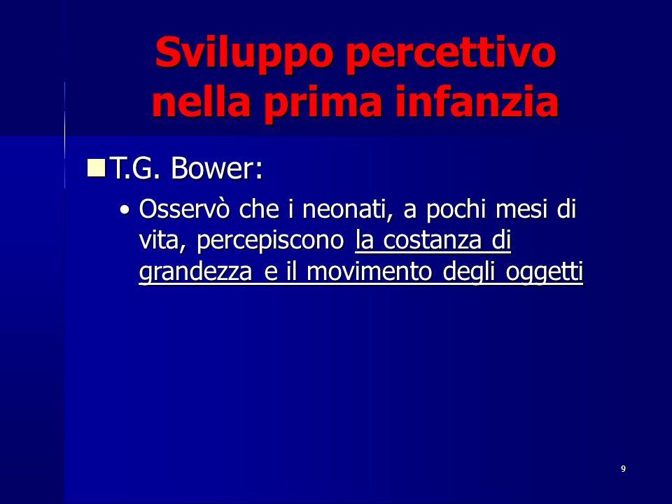 9 Sviluppo percettivo nella prima infanzia T.G. Bower: T.G. Bower: Osservò che i neonati, a pochi mesi di vita, percepiscono la costanza di grandezza