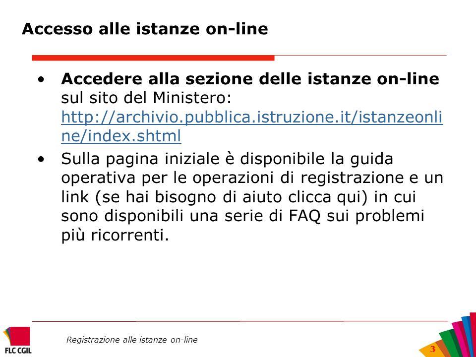 Registrazione alle istanze on-line 3 Accedere alla sezione delle istanze on-line sul sito del Ministero: http://archivio.pubblica.istruzione.it/istanz