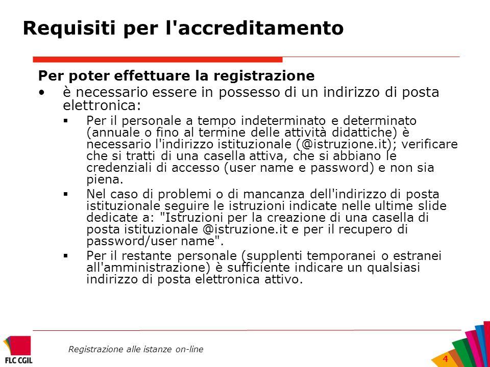 Registrazione alle istanze on-line 4 Per poter effettuare la registrazione è necessario essere in possesso di un indirizzo di posta elettronica:  Per