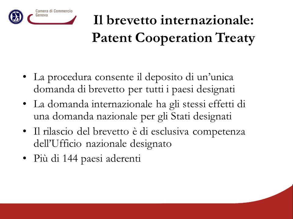 La procedura consente il deposito di un'unica domanda di brevetto per tutti i paesi designati La domanda internazionale ha gli stessi effetti di una d