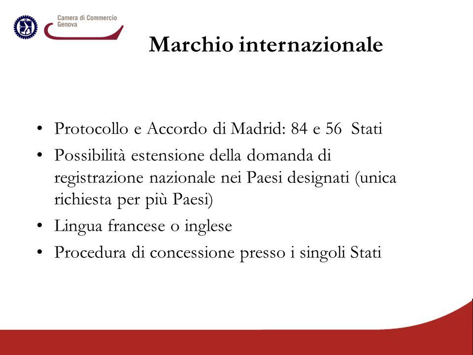 Protocollo e Accordo di Madrid: 84 e 56 Stati Possibilità estensione della domanda di registrazione nazionale nei Paesi designati (unica richiesta per