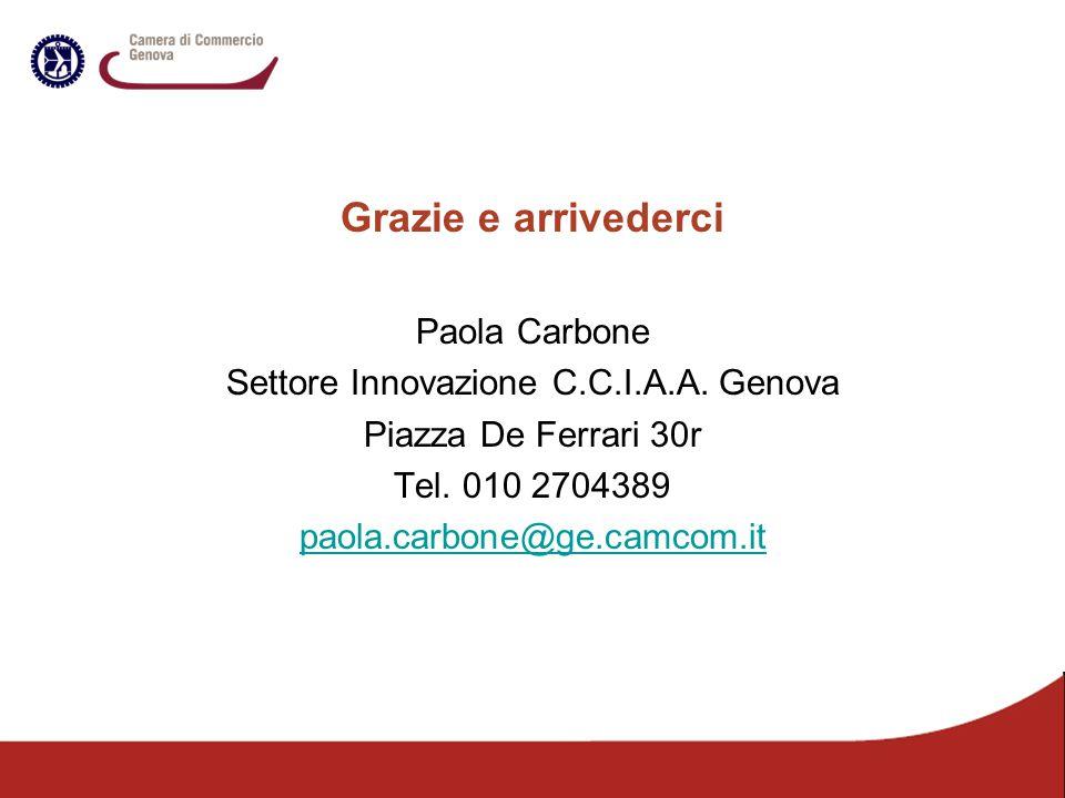 Grazie e arrivederci Paola Carbone Settore Innovazione C.C.I.A.A. Genova Piazza De Ferrari 30r Tel. 010 2704389 paola.carbone@ge.camcom.it