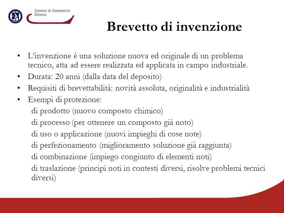 Brevetto di invenzione L'invenzione è una soluzione nuova ed originale di un problema tecnico, atta ad essere realizzata ed applicata in campo industr