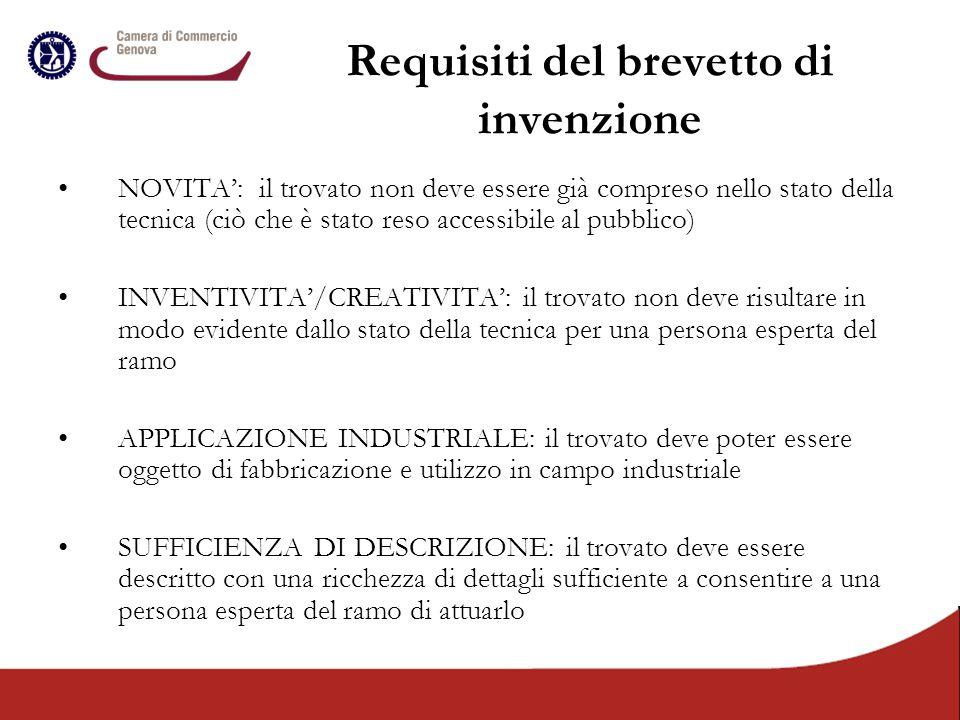 Requisiti del brevetto di invenzione NOVITA': il trovato non deve essere già compreso nello stato della tecnica (ciò che è stato reso accessibile al p