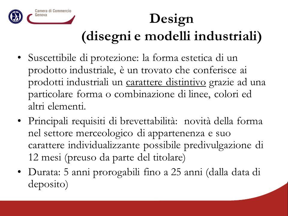Design (disegni e modelli industriali) Suscettibile di protezione: la forma estetica di un prodotto industriale, è un trovato che conferisce ai prodot