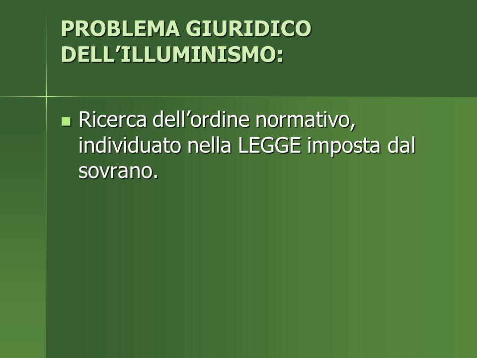 PROBLEMA GIURIDICO DELL'ILLUMINISMO: Ricerca dell'ordine normativo, individuato nella LEGGE imposta dal sovrano.