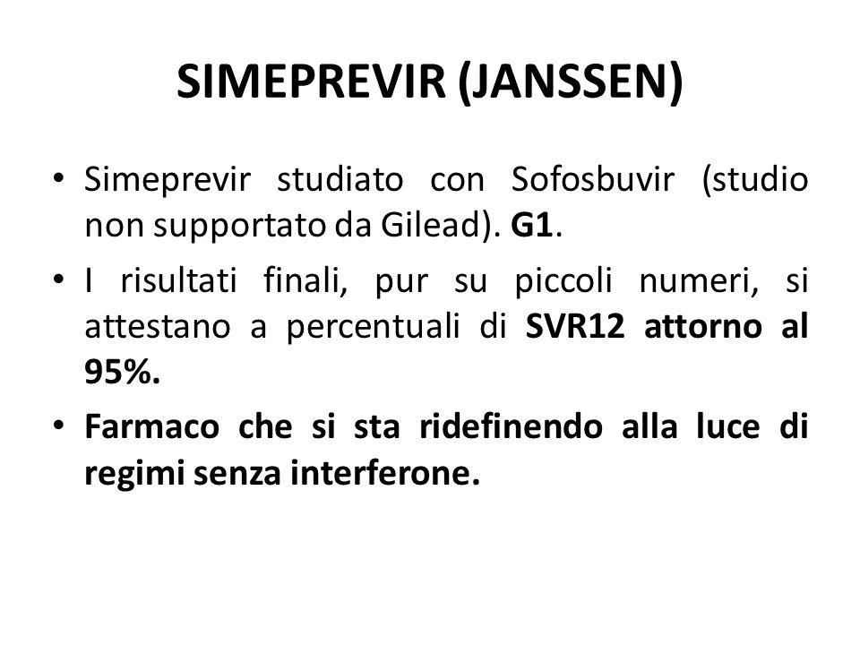 SIMEPREVIR (JANSSEN) Simeprevir studiato con Sofosbuvir (studio non supportato da Gilead). G1. I risultati finali, pur su piccoli numeri, si attestano