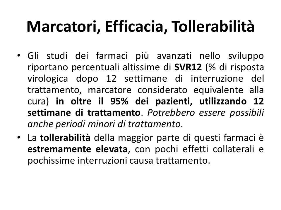 Marcatori, Efficacia, Tollerabilità Gli studi dei farmaci più avanzati nello sviluppo riportano percentuali altissime di SVR12 (% di risposta virologi