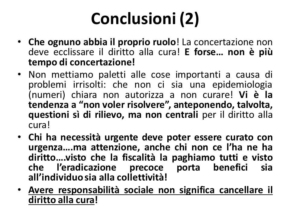 Conclusioni (2) Che ognuno abbia il proprio ruolo! La concertazione non deve ecclissare il diritto alla cura! E forse… non è più tempo di concertazion