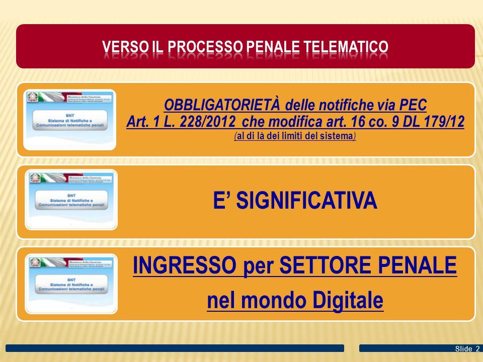 OBBLIGATORIETÀ delle notifiche via PEC Art.1 L. 228/2012 che modifica art.