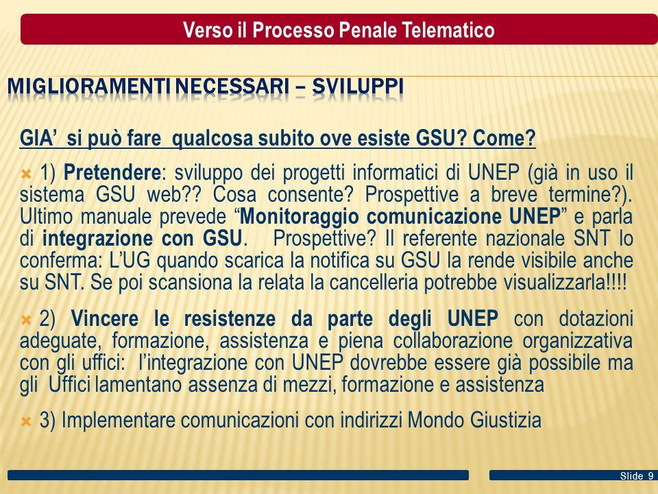 GIA' si può fare qualcosa subito ove esiste GSU? Come?  1) Pretendere : sviluppo dei progetti informatici di UNEP (già in uso il sistema GSU web?? Co