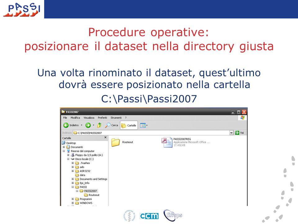 Procedure operative: posizionare il dataset nella directory giusta Una volta rinominato il dataset, quest'ultimo dovrà essere posizionato nella cartel