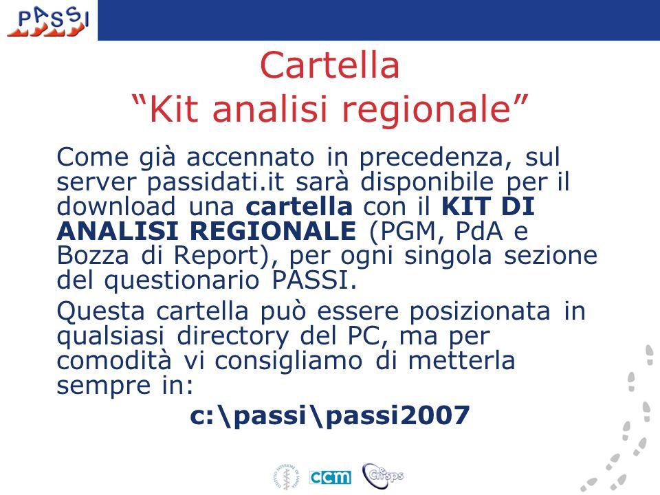 """Cartella """"Kit analisi regionale"""" Come già accennato in precedenza, sul server passidati.it sarà disponibile per il download una cartella con il KIT DI"""