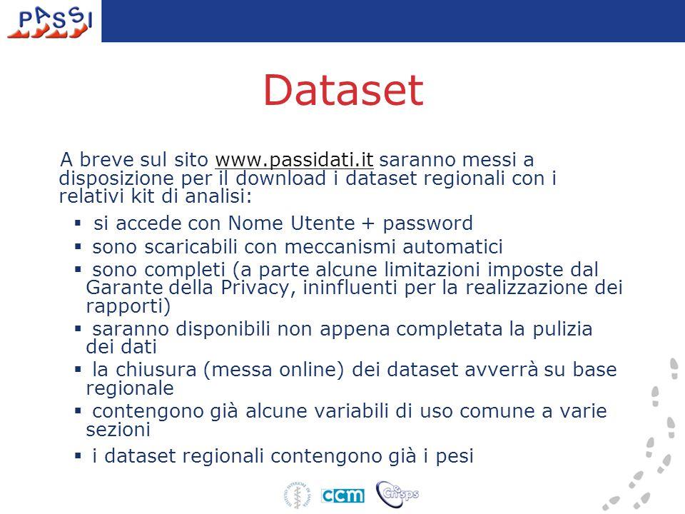 Dataset A breve sul sito www.passidati.it saranno messi a disposizione per il download i dataset regionali con i relativi kit di analisi:www.passidati