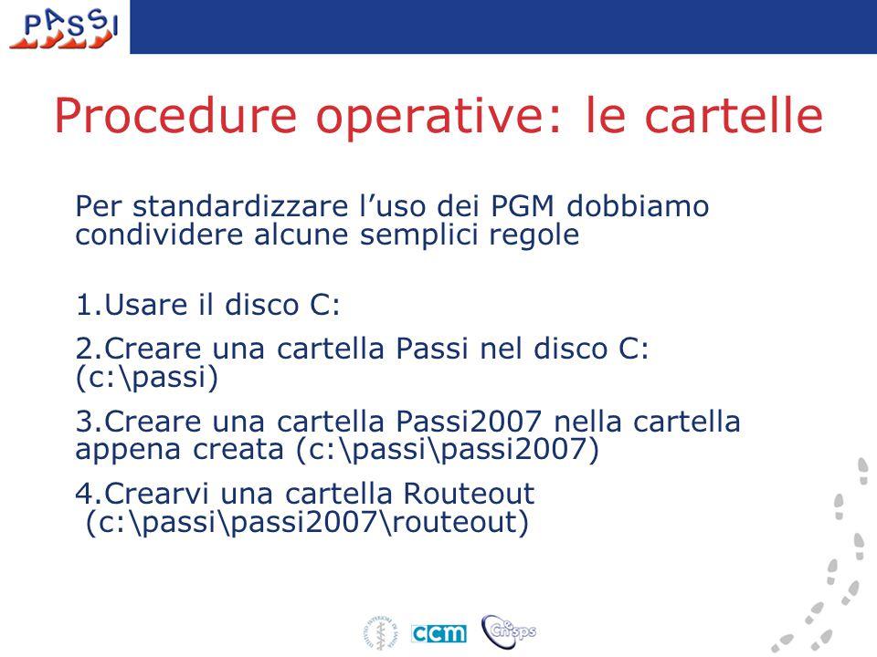 Procedure operative: le cartelle Per standardizzare l'uso dei PGM dobbiamo condividere alcune semplici regole 1.Usare il disco C: 2.Creare una cartella Passi nel disco C: (c:\passi) 3.Creare una cartella Passi2007 nella cartella appena creata (c:\passi\passi2007) 4.Crearvi una cartella Routeout (c:\passi\passi2007\routeout)