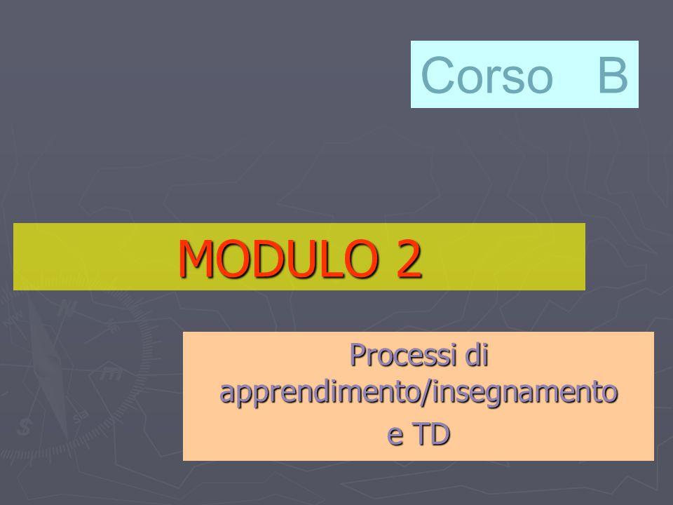 MODULO 2 Processi di apprendimento/insegnamento e TD Corso B
