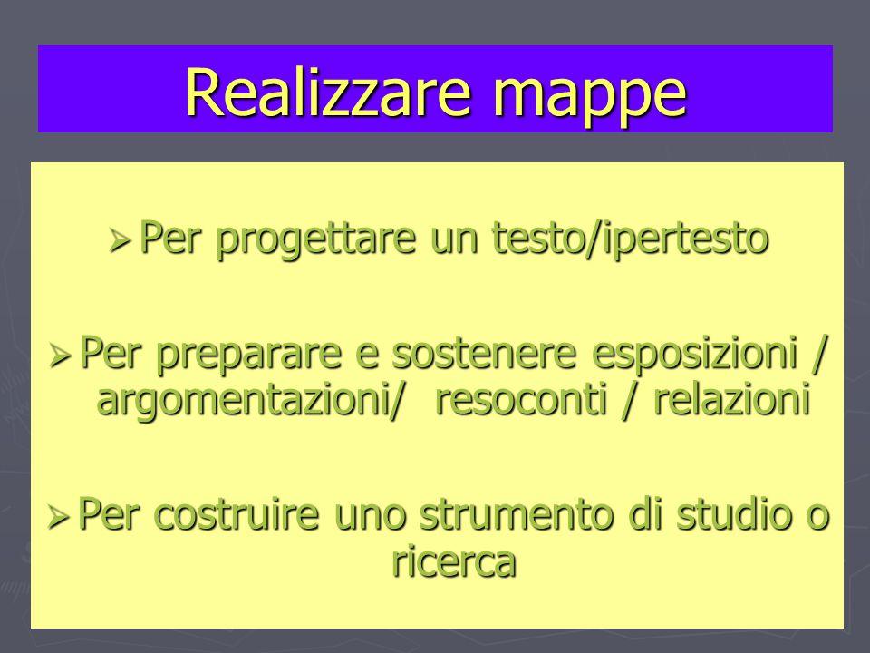  Per progettare un testo/ipertesto  Per preparare e sostenere esposizioni / argomentazioni/ resoconti / relazioni  Per costruire uno strumento di studio o ricerca Realizzare mappe