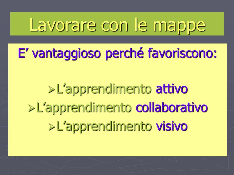 E' vantaggioso perché favoriscono:  L'apprendimento attivo  L'apprendimento collaborativo  L'apprendimento visivo Lavorare con le mappe