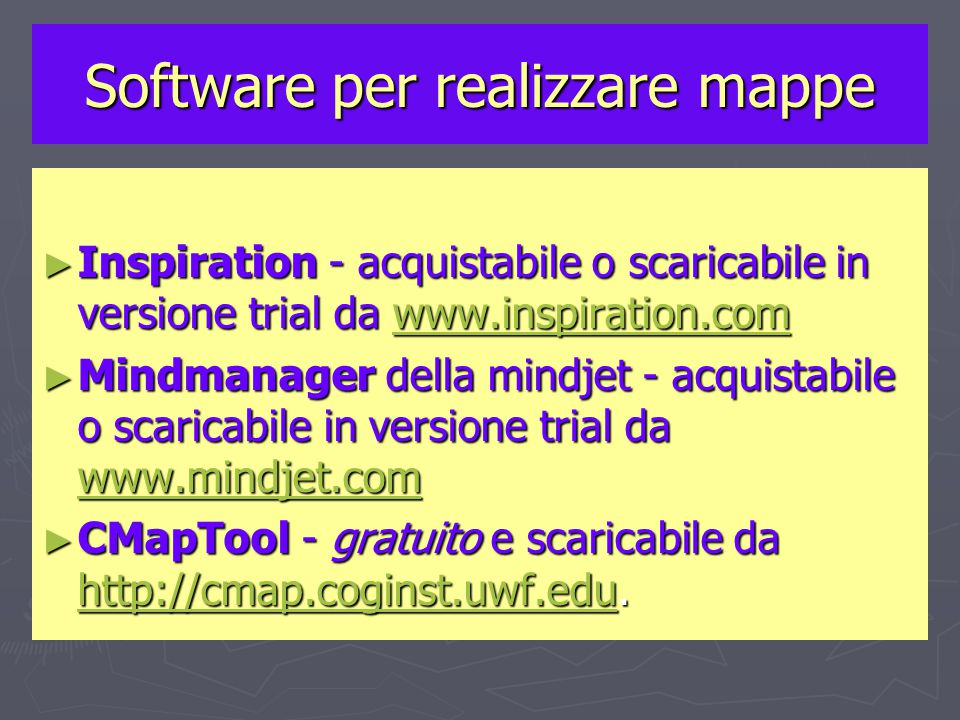 Software per realizzare mappe ► Inspiration - acquistabile o scaricabile in versione trial da www.inspiration.com www.inspiration.com ► Mindmanager della mindjet - acquistabile o scaricabile in versione trial da www.mindjet.com www.mindjet.com ► CMapTool - gratuito e scaricabile da http://cmap.coginst.uwf.edu.