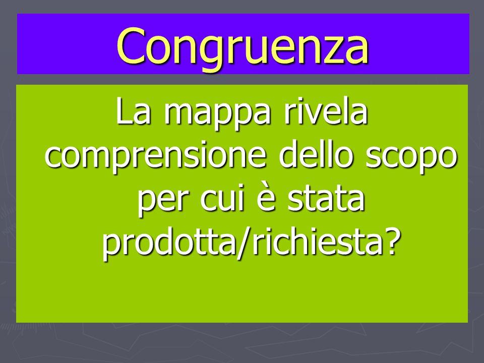 Congruenza La mappa rivela comprensione dello scopo per cui è stata prodotta/richiesta?