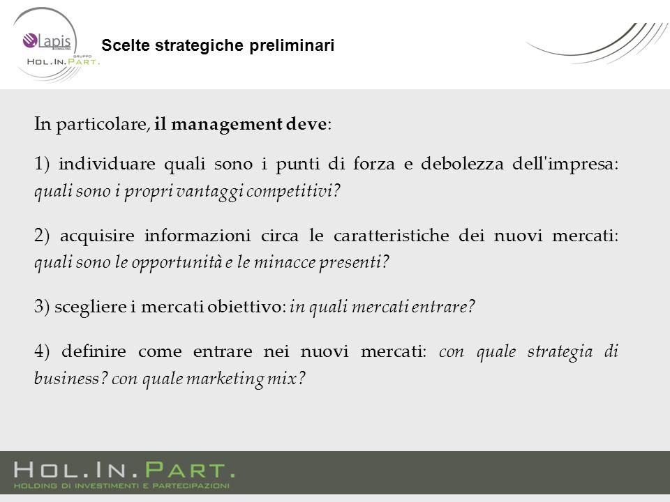 In particolare, il management deve: 1) individuare quali sono i punti di forza e debolezza dell impresa: quali sono i propri vantaggi competitivi.