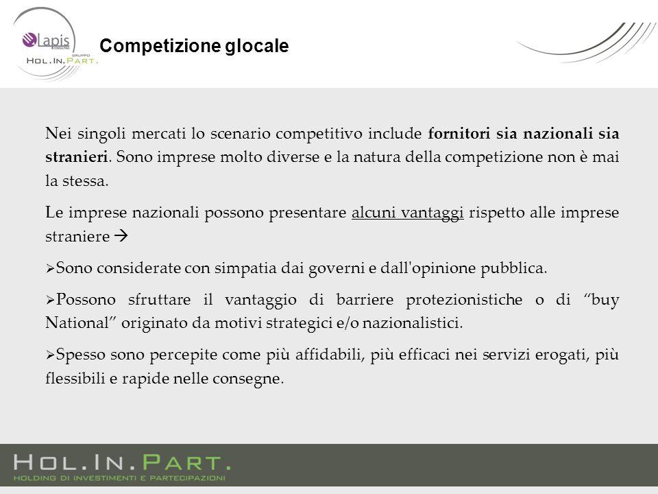 Nei singoli mercati lo scenario competitivo include fornitori sia nazionali sia stranieri.