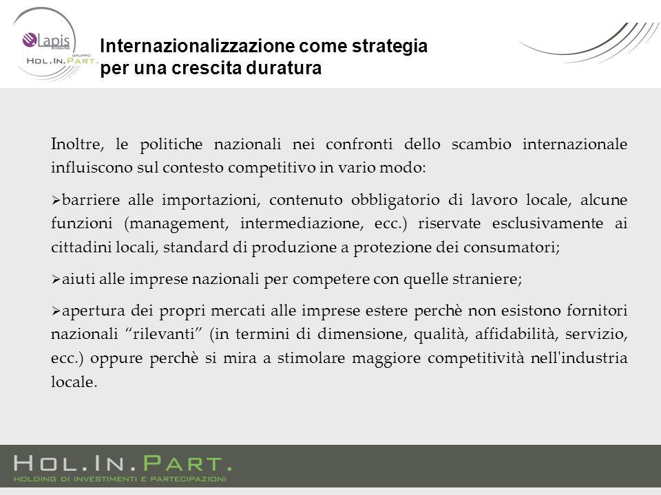 Inoltre, le politiche nazionali nei confronti dello scambio internazionale influiscono sul contesto competitivo in vario modo:  barriere alle importa