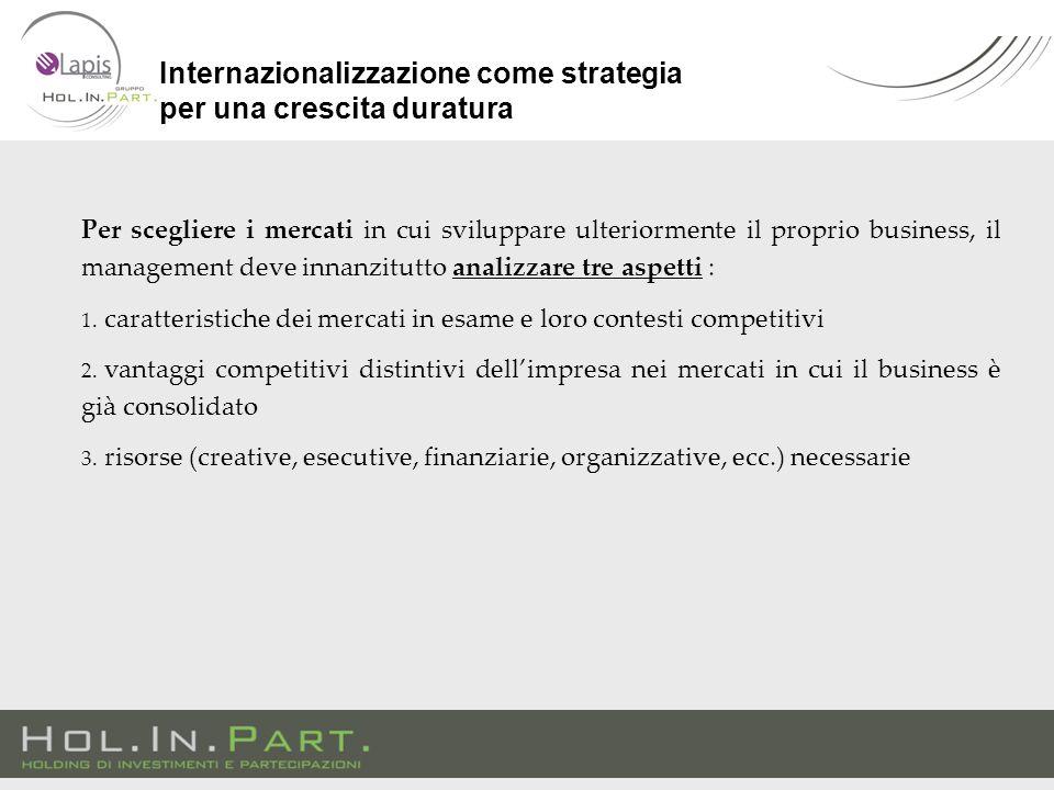 Per scegliere i mercati in cui sviluppare ulteriormente il proprio business, il management deve innanzitutto analizzare tre aspetti : 1. caratteristic