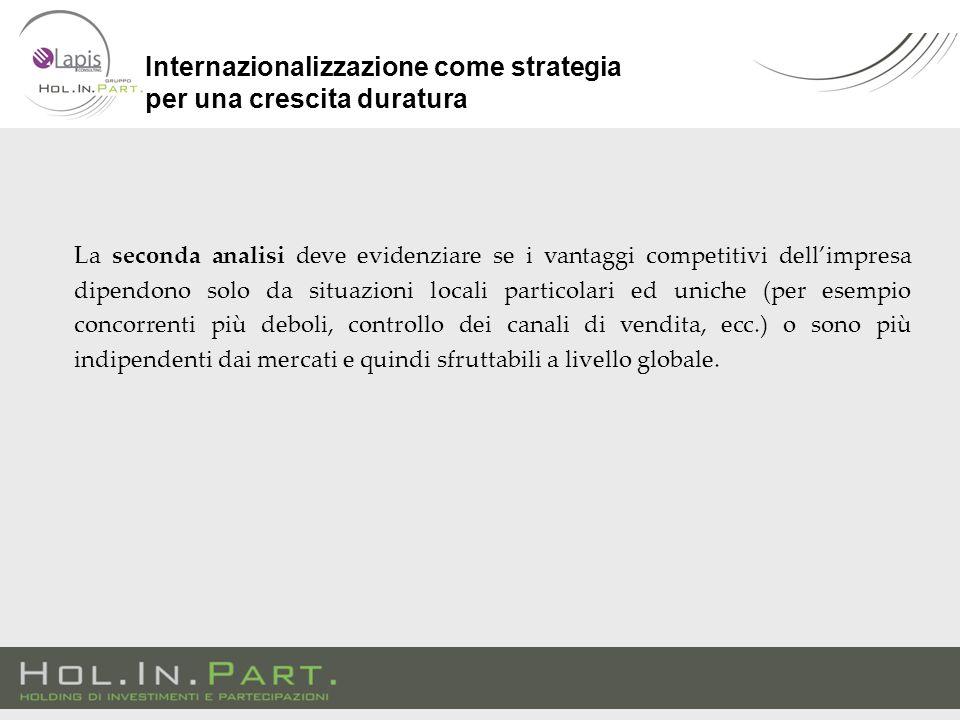 La seconda analisi deve evidenziare se i vantaggi competitivi dell'impresa dipendono solo da situazioni locali particolari ed uniche (per esempio conc