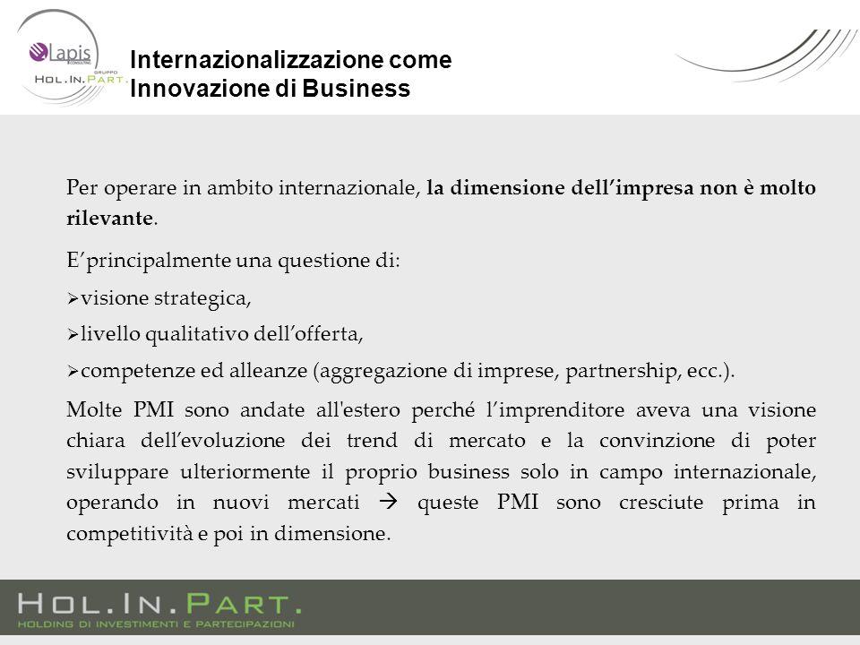 Per operare in ambito internazionale, la dimensione dell'impresa non è molto rilevante. E'principalmente una questione di:  visione strategica,  liv