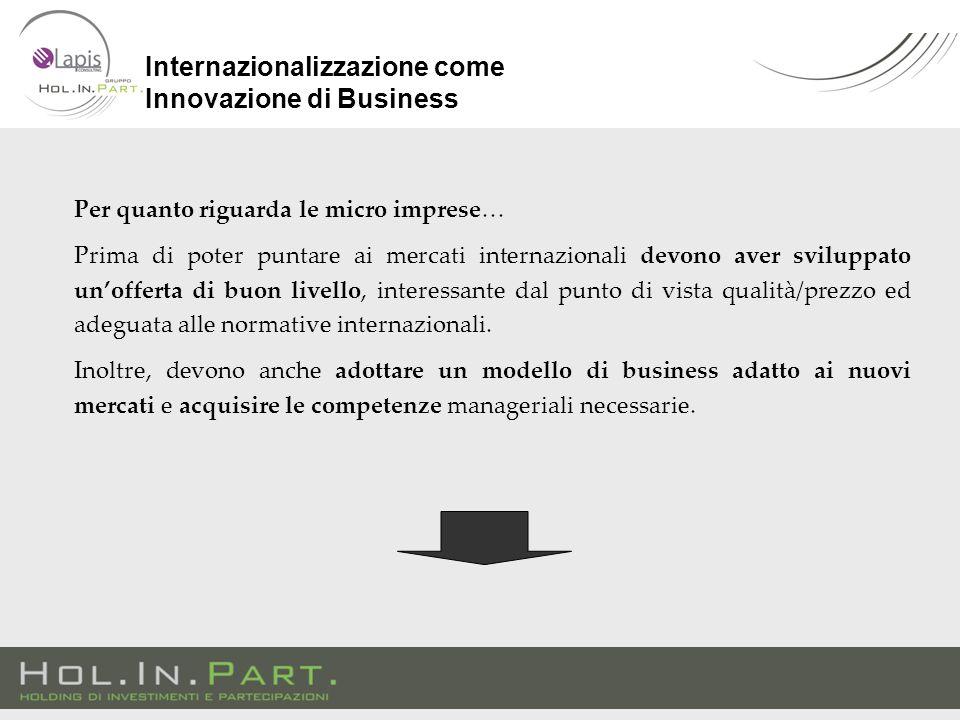 Per quanto riguarda le micro imprese… Prima di poter puntare ai mercati internazionali devono aver sviluppato un'offerta di buon livello, interessante dal punto di vista qualità/prezzo ed adeguata alle normative internazionali.