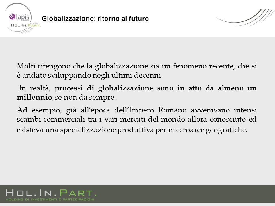 Molti ritengono che la globalizzazione sia un fenomeno recente, che si è andato sviluppando negli ultimi decenni.