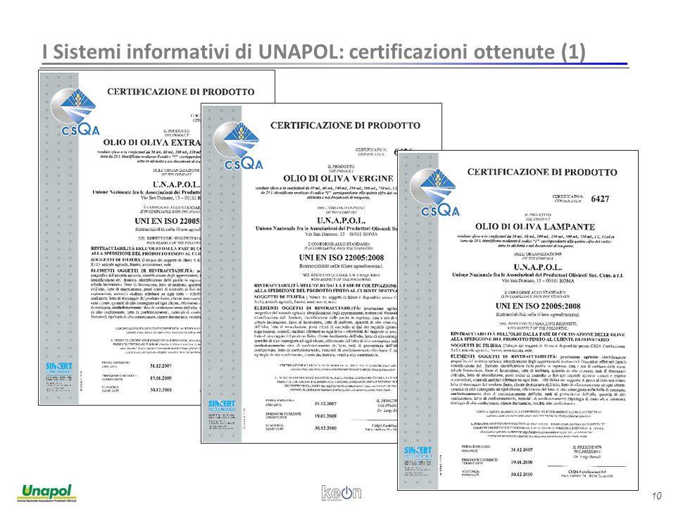 10 I Sistemi informativi di UNAPOL: certificazioni ottenute (1)