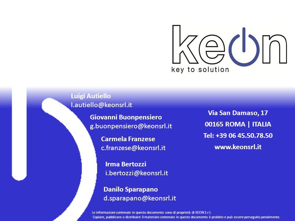 Luigi Autiello l.autiello@keonsrl.it Giovanni Buonpensiero g.buonpensiero@keonsrl.it Carmela Franzese c.franzese@keonsrl.it Irma Bertozzi i.bertozzi@keonsrl.it Via San Damaso, 17 00165 ROMA | ITALIA Tel: +39 06 45.50.78.50 www.keonsrl.it Danilo Sparapano d.sparapano@keonsrl.it Le informazioni contenute in questo documento sono di proprietà di KEON S.r.l.