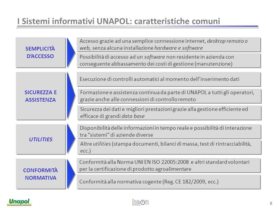 6 I Sistemi informativi UNAPOL: caratteristiche comuni Possibilità di accesso ad un software non residente in azienda con conseguente abbassamento dei costi di gestione (manutenzione) Conformità alla normativa cogente (Reg.