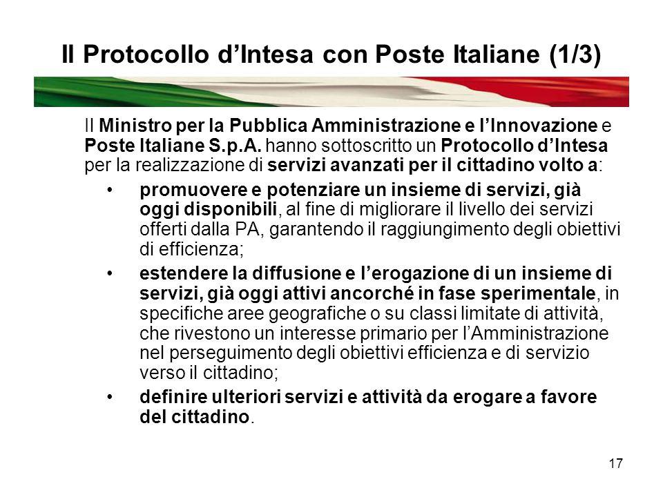 17 Il Protocollo d'Intesa con Poste Italiane (1/3) Il Ministro per la Pubblica Amministrazione e l'Innovazione e Poste Italiane S.p.A.