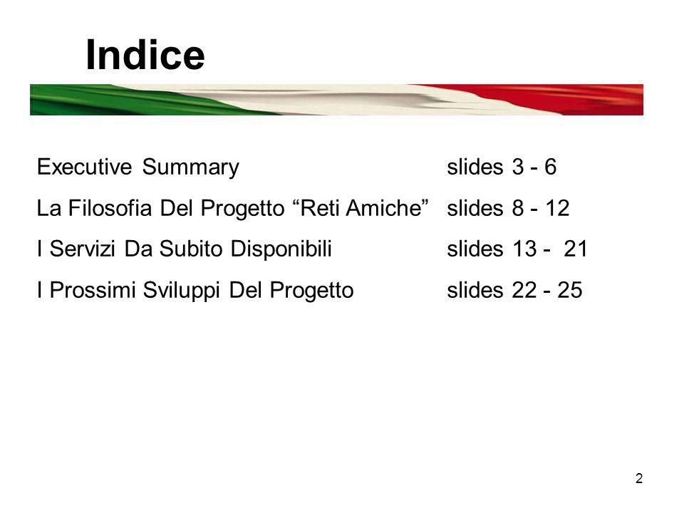 2 Indice Executive Summaryslides 3 - 6 La Filosofia Del Progetto Reti Amiche slides 8 - 12 I Servizi Da Subito Disponibilislides 13 - 21 I Prossimi Sviluppi Del Progettoslides 22 - 25