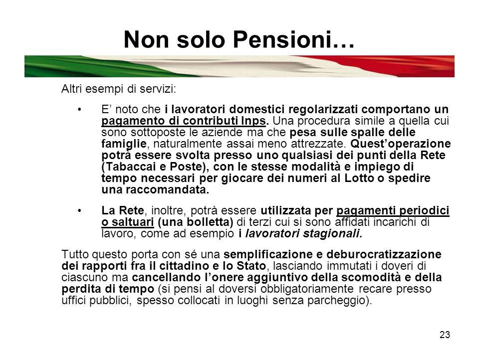 23 Non solo Pensioni… Altri esempi di servizi: E' noto che i lavoratori domestici regolarizzati comportano un pagamento di contributi Inps.