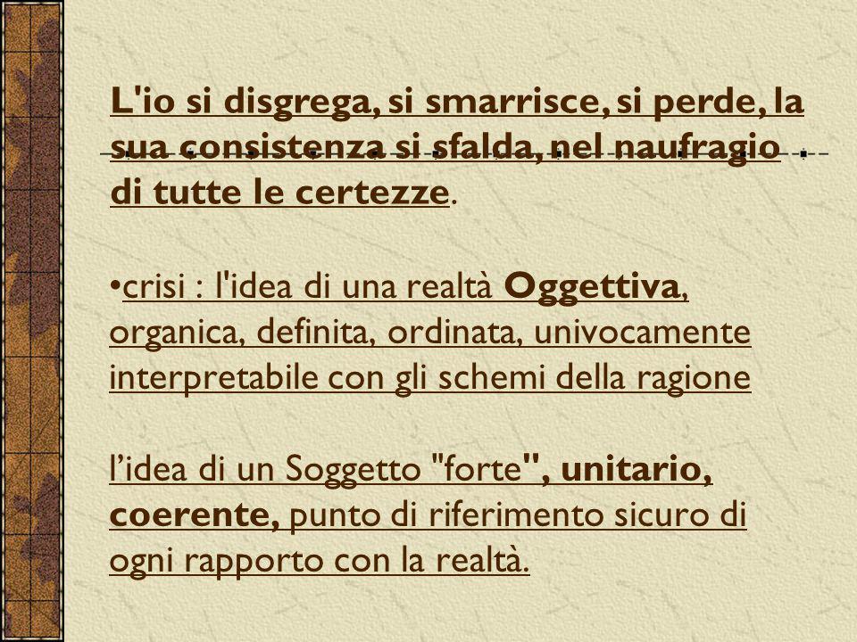 crisi : l'idea di una realtà Oggettiva, organica, definita, ordinata, univocamente interpretabile con gli schemi della ragione l'idea di un Soggetto